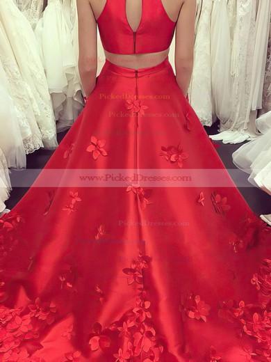Princess High Neck Sweep Train Satin Appliques Lace Prom Dresses #PDS020105570
