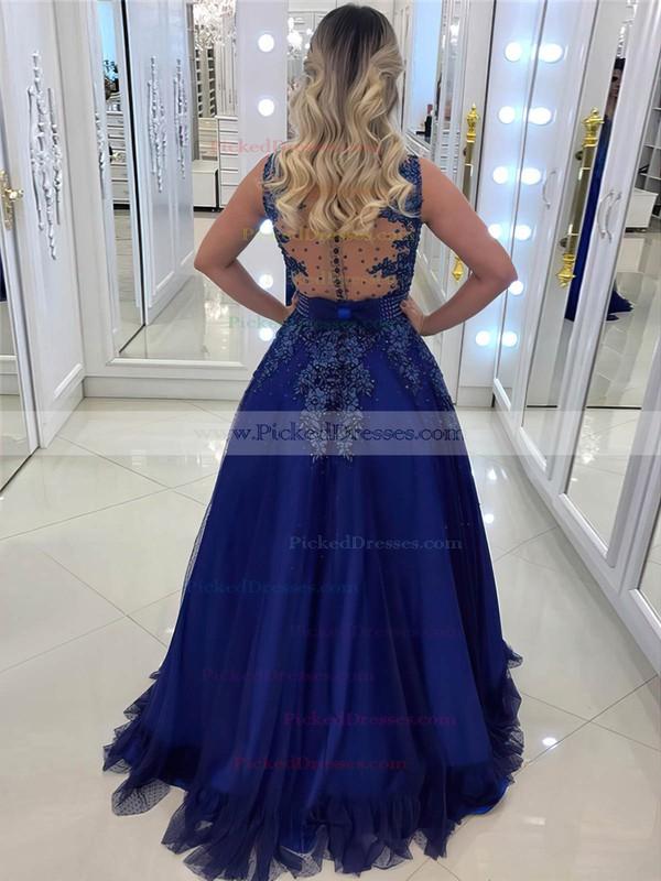 Princess V-neck Floor-length Tulle Appliques Lace Prom Dresses #PDS020105572