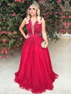 Princess V-neck Floor-length Tulle Appliques Lace Prom Dresses #PDS020105572