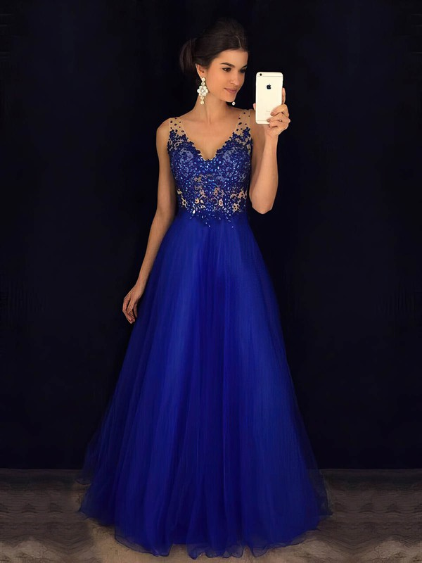 Princess V-neck Floor-length Tulle Beading Prom Dresses #PDS020105576