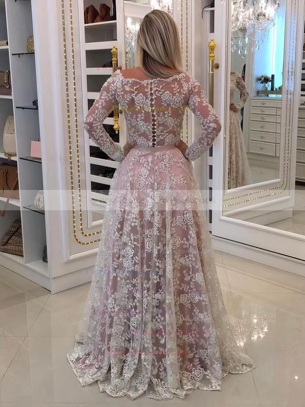 A-line Off-the-shoulder Floor-length Lace Tulle Appliques Lace Prom Dresses #PDS020105583