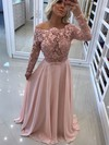 A-line Off-the-shoulder Floor-length Chiffon Tulle Appliques Lace Prom Dresses #PDS020105588