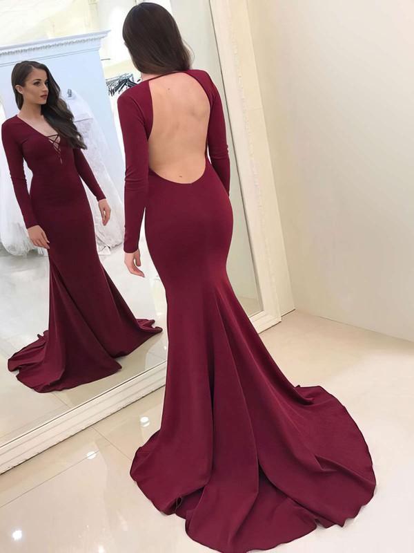 Trumpet/Mermaid V-neck Sweep Train Prom Dresses #PDS020105591