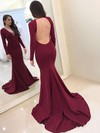 Trumpet/Mermaid V-neck Sweep Train Prom Dresses #PDS020105591