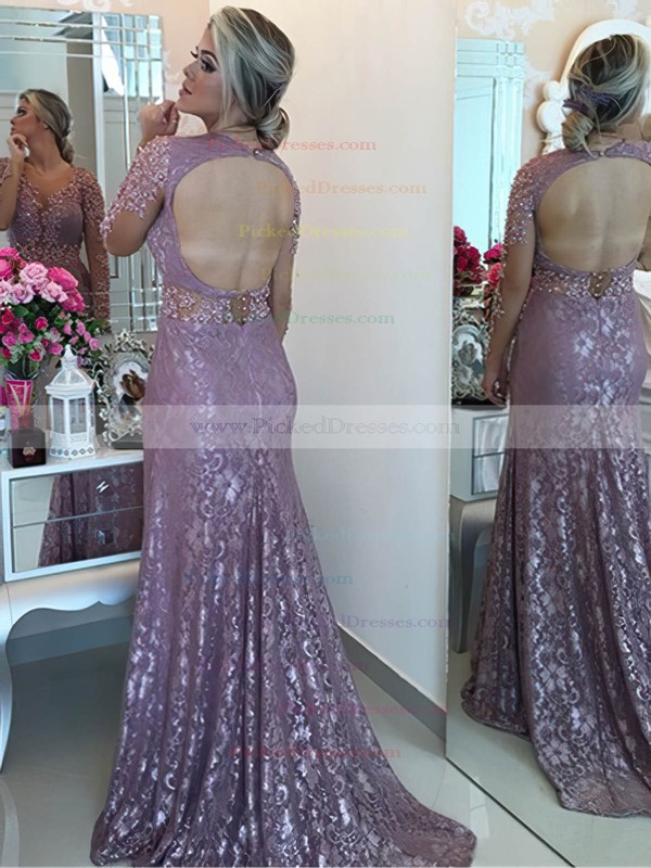 Trumpet/Mermaid Scoop Neck Sweep Train Tulle Lace Appliques Lace Prom Dresses #PDS020105594
