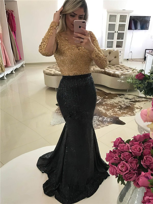 Trumpet/Mermaid Scoop Neck Sweep Train Tulle Sequined Beading Prom Dresses #PDS020105610