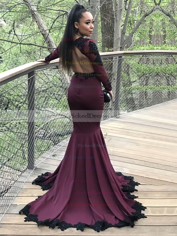 Trumpet/Mermaid V-neck Sweep Train Jersey Appliques Lace Prom Dresses #PDS020105612