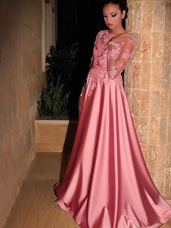 A-line Scoop Neck Sweep Train Satin Tulle Appliques Lace Prom Dresses #PDS020105622