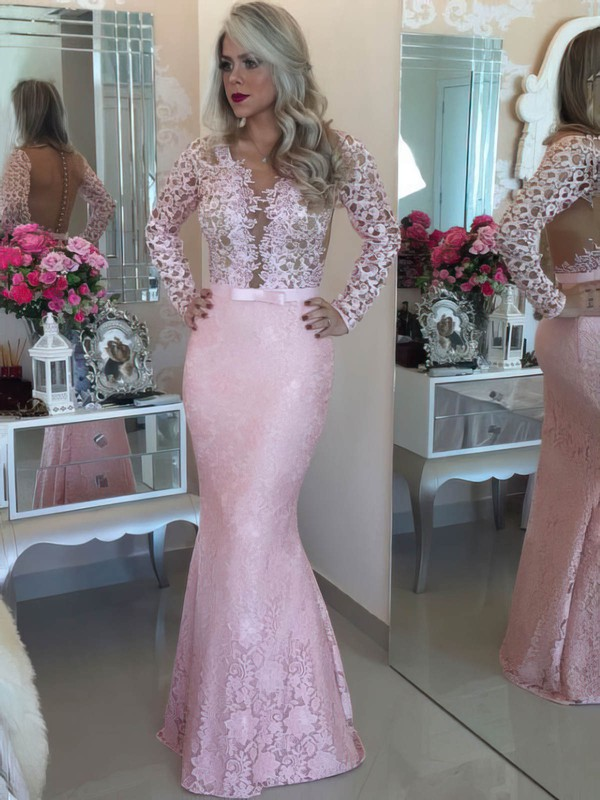 Trumpet/Mermaid Scoop Neck Floor-length Tulle Lace Prom Dresses #PDS020105624