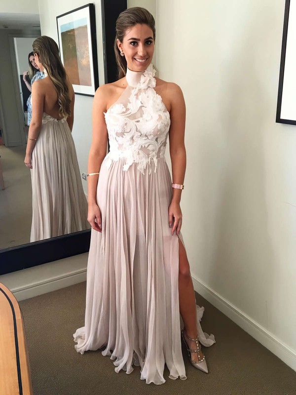 A-line Halter Sweep Train Chiffon Tulle Appliques Lace Prom Dresses #PDS020105652