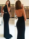 Sheath/Column Halter Sweep Train Jersey Beading Prom Dresses #PDS020105656