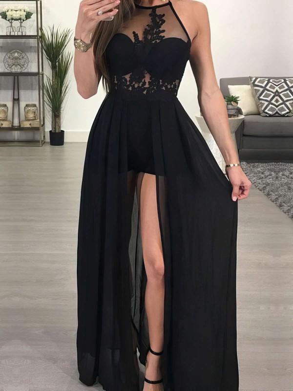 A-line Halter Floor-length Chiffon Tulle Split Front Prom Dresses #PDS020105657