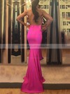 Trumpet/Mermaid Halter Sweep Train Jersey Prom Dresses #PDS020105659