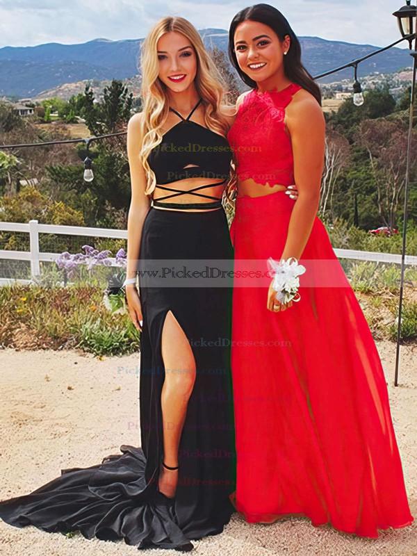 Sheath/Column V-neck Sweep Train Jersey Split Front Prom Dresses #PDS020105673