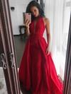 Princess V-neck Sweep Train Satin Ruffles Prom Dresses #PDS020105675