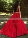 Princess V-neck Sweep Train Satin Ruffles Prom Dresses #PDS020105675