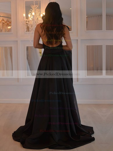 Princess V-neck Sweep Train Satin Beading Prom Dresses #PDS020105676