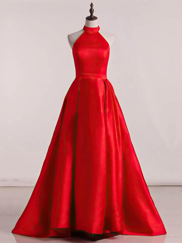 Princess High Neck Sweep Train Satin Ruffles Prom Dresses #PDS020105678