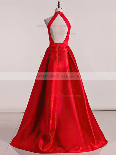 Princess High Neck Sweep Train Satin Ruffles Prom Dresses #PDS020105678