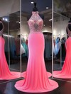 Trumpet/Mermaid High Neck Sweep Train Chiffon Tulle Beading Prom Dresses #PDS020105680