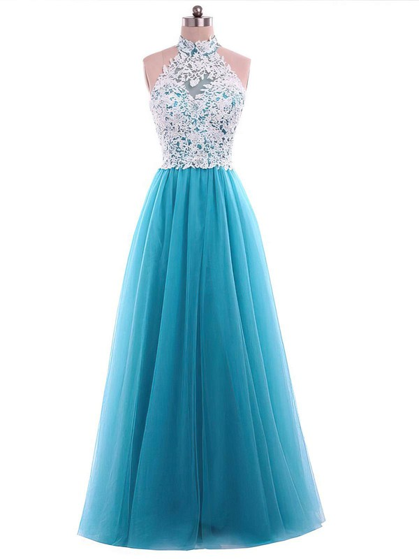 A-line High Neck Floor-length Tulle Appliques Lace Prom Dresses #PDS020105687