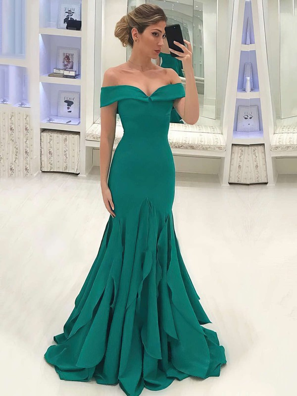 Trumpet/Mermaid Off-the-shoulder Sweep Train Ruffles Prom Dresses #PDS020105700