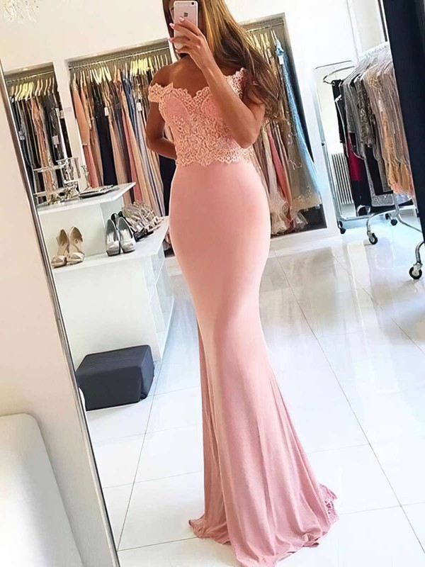 Sheath/Column Off-the-shoulder Sweep Train Jersey Beading Prom Dresses #PDS020105707