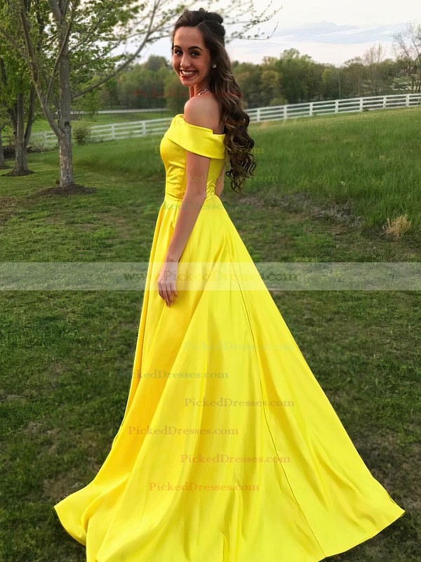Princess Off-the-shoulder Sweep Train Satin Pockets Prom Dresses #PDS020105710