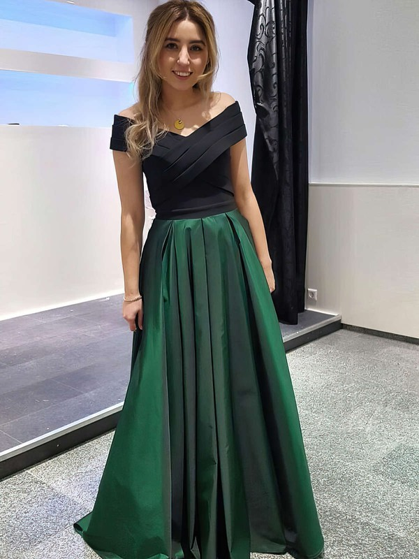 A-line Off-the-shoulder Floor-length Satin Ruffles Prom Dresses #PDS020105714