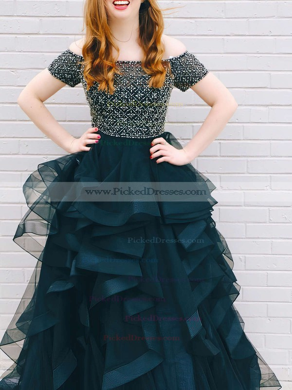 Princess Off-the-shoulder Sweep Train Organza Tulle Beading Prom Dresses #PDS020105730
