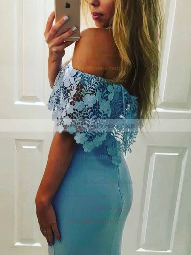 Trumpet/Mermaid Off-the-shoulder Sweep Train Lace Chiffon Split Front Prom Dresses #PDS020105732