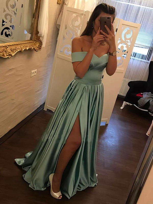 A-line Off-the-shoulder Sweep Train Satin Split Front Prom Dresses #PDS020105733