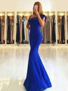 Trumpet/Mermaid One Shoulder Floor-length Stretch Crepe Draped Prom Dresses #PDS020105742