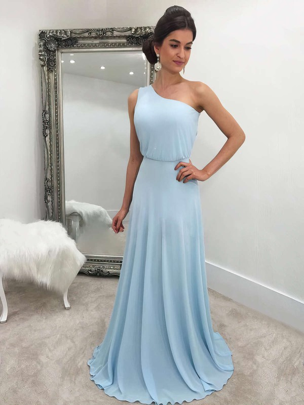 A-line One Shoulder Sweep Train Chiffon Prom Dresses #PDS020105744