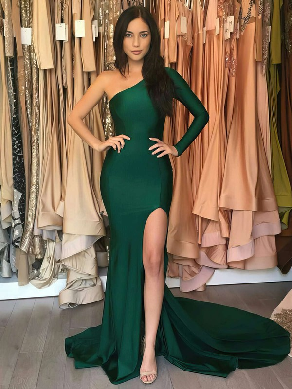 Trumpet/Mermaid One Shoulder Sweep Train Split Front Prom Dresses #PDS020105746