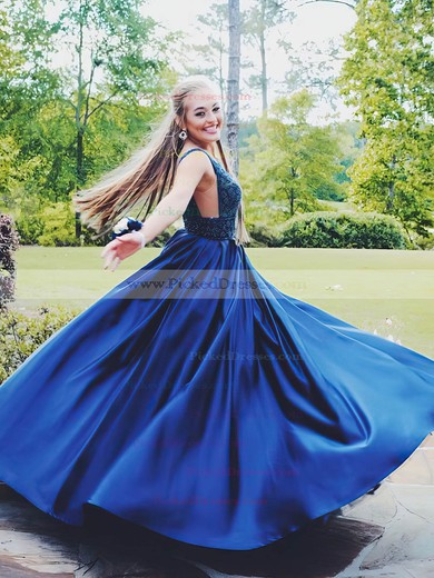 Princess V-neck Sweep Train Satin Beading Prom Dresses #PDS020105749