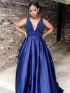 Princess V-neck Sweep Train Satin Beading Prom Dresses #PDS020105749