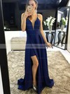 A-line V-neck Sweep Train Satin Split Front Prom Dresses #PDS020105750