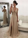 A-line V-neck Sweep Train Chiffon Split Front Prom Dresses #PDS020105761