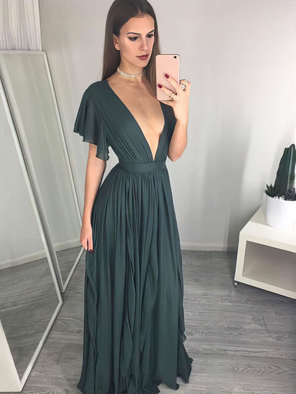 A-line V-neck Floor-length Chiffon Ruffles Prom Dresses #PDS020105763
