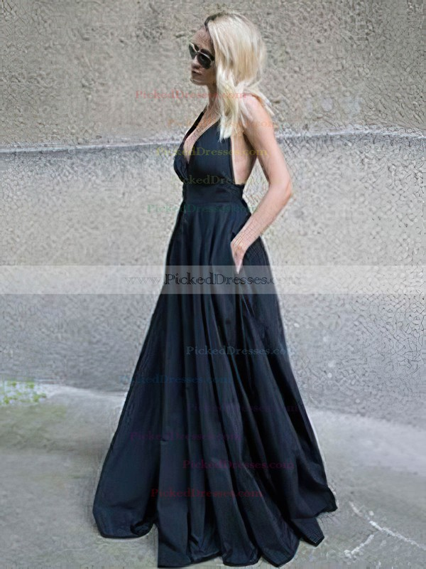 Princess V-neck Floor-length Satin Pockets Prom Dresses #PDS020105764