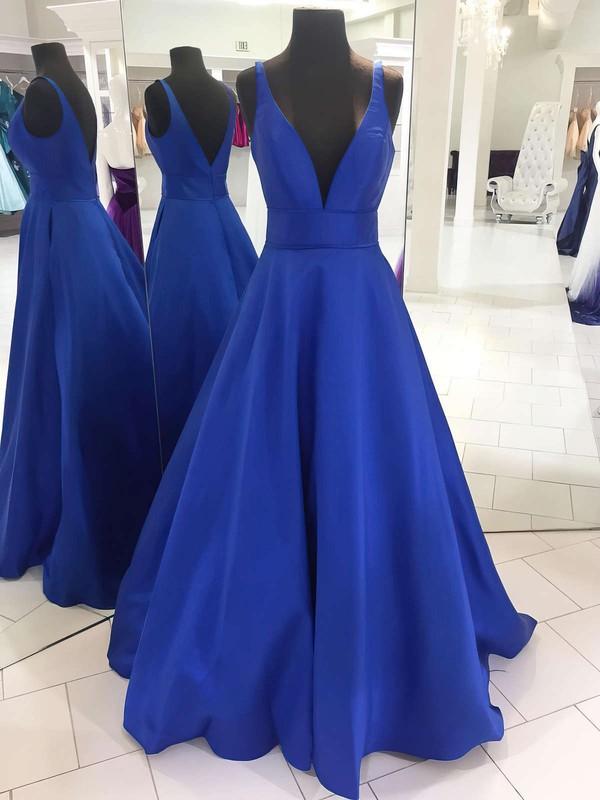 Princess V-neck Floor-length Satin Ruffles Prom Dresses #PDS020105771