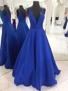 Princess V-neck Floor-length Satin Ruffles Prom Dresses #PDS020105771