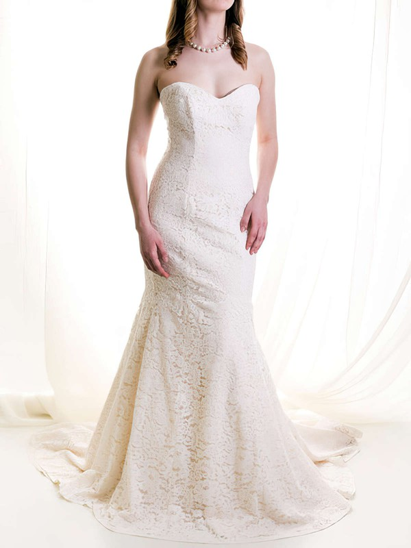 Prettiest Sweetheart Ivory Lace Draped Court Train Wedding Dresses #PDS00020513