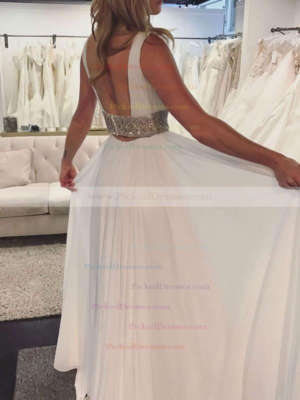 A-line V-neck Floor-length Chiffon Beading Prom Dresses #PDS020105772