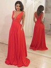 A-line V-neck Sweep Train Pockets Prom Dresses #PDS020105773