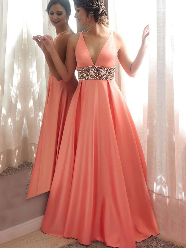 Princess V-neck Floor-length Satin Beading Prom Dresses #PDS020105777