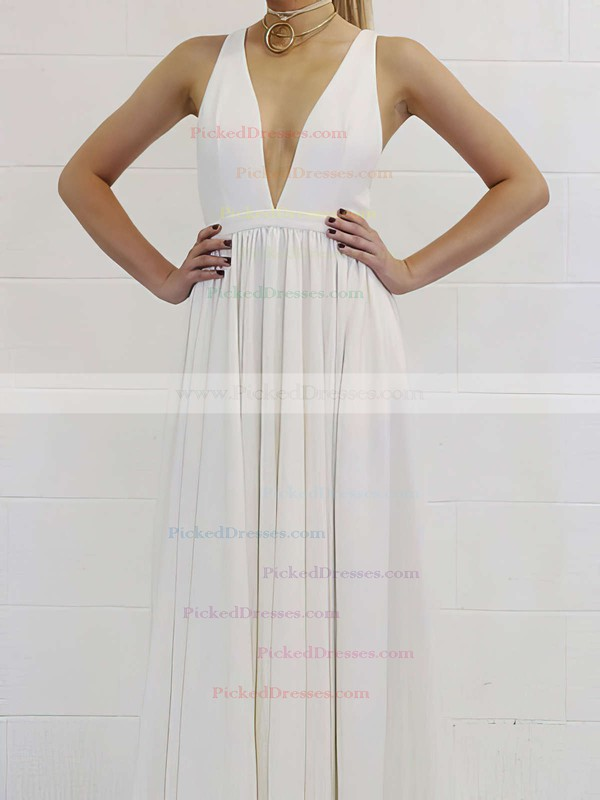 A-line V-neck Floor-length Ruffles Prom Dresses #PDS020105778
