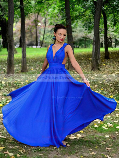A-line V-neck Floor-length Chiffon Ruffles Prom Dresses #PDS020105782
