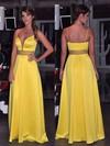 A-line V-neck Floor-length Satin Beading Prom Dresses #PDS020105783